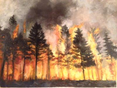 painting of fire burning in the forest