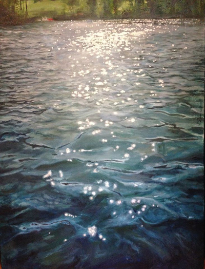 Sparkles of light on soft blue seascape painting