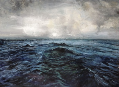 Seascape painting with a moody grey sky