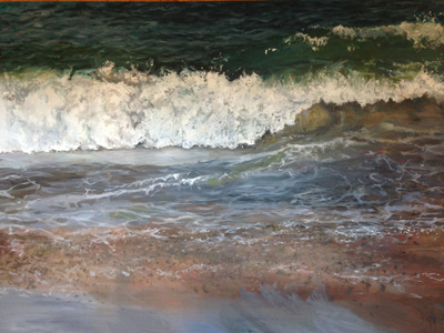 Seascape painting with wave