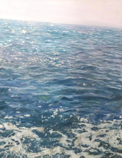 cerulean blue seascape painting with sparkles