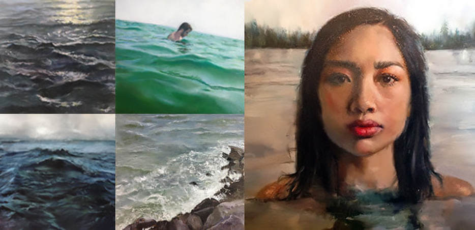Seascape paintings and portrait in oil, one image of an asian woman