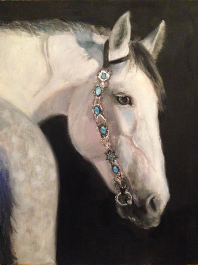 White Horse with jewelry with black background oil on canvas