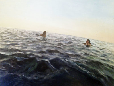 seascape painting curved with two figures