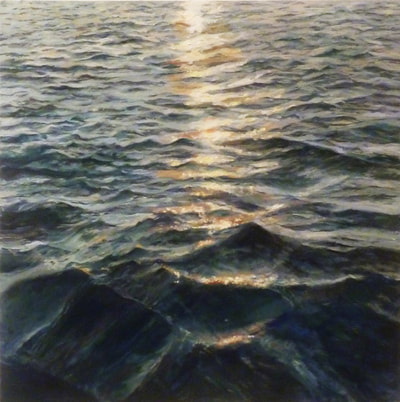 seascape painting of the sun reflecting light onto the waves