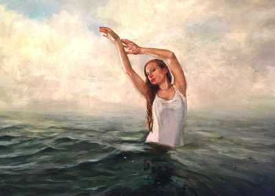 painting on canvas of a redheaded girl in the ocean